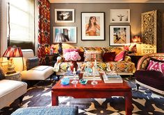 Larger view of Sig Bergamin living room. Love the layers of color/patterns.
