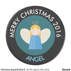 Christmas Angel Hockey Puck