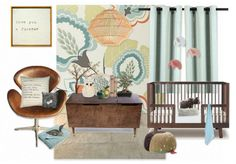 calm nursery mood board. Pity there's no link to the wallpaper