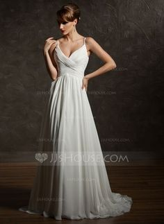 Wedding Dresses - $186.99 - A-Line/Princess V-neck Court Train Chiffon Wedding Dress With Ruffle (002004750) http://jjshouse.com/A-Line-Princess-V-Neck-Court-Train-Chiffon-Wedding-Dress-With-Ruffle-002004750-g4750