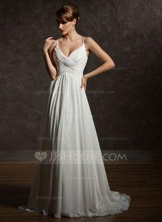 [US$ 186.99] A-Line/Princess V-neck Court Train Chiffon Wedding Dress With Ruffle