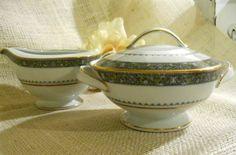 Vintage Noritake Thurston Creamer & Sugar Bowl w Lid