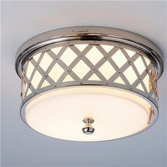 Lauren by Ralph Lauren Lattice Ceiling Light Polished Nickel - so hard to find hallway lights that I like!