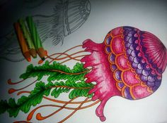 """WIP #Jellyfishes #LostOcean #johannabasford #mycreativeescape #steadtler #adultcoloringbook #inprogress #tryinghardnottowatercolorit"""