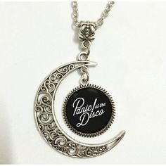 Charm Crescent Moon Panic! At the Disco Band Logo Pendant Necklace (£7.52) ❤ liked on Polyvore featuring jewelry, necklaces, charm necklace, charm pendant, disco jewelry, logo jewelry and pendant jewelry