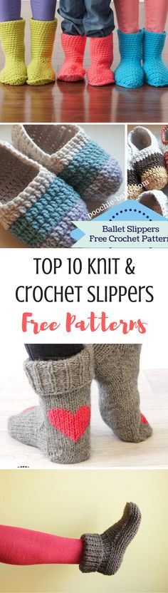 The top 10 FREE pattern for knitted and crochet slippers! Take a look and find your next cosy project!