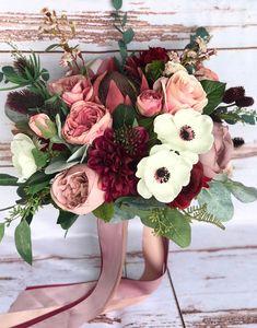 Planning A Fantastic Flower Wedding Bouquet – Bridezilla Flowers Burgundy Wedding Flowers, Red Bouquet Wedding, Dusty Rose Wedding, Rose Bouquet, Floral Wedding, Gerbera Wedding, Purple Wedding, Summer Wedding, Rustic Wedding