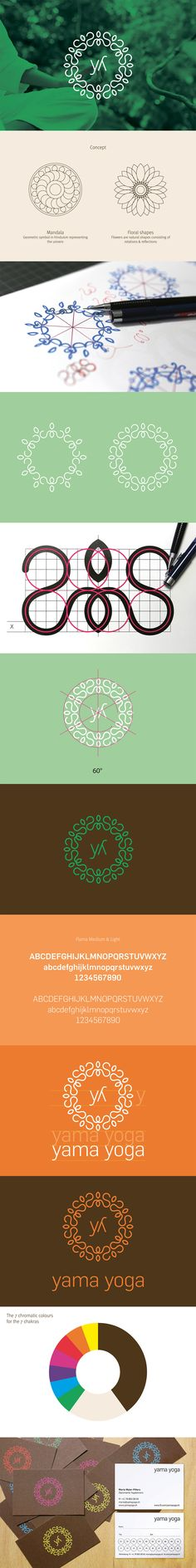 Brand for a yoga studio. It represents the typical elements such as mandalas and flowers and plays with the seven chromatic colors for the seven chakras.