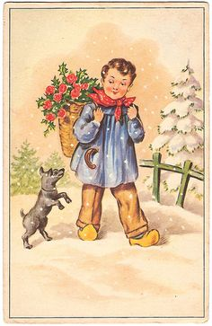 Vintage postcard-boy and dog. posted by Carlos Goulao Vintage Images, Disney Characters, Fictional Characters, Disney Princess, Dogs, Inspiration, Painting, Illustrations, Design
