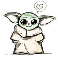 Are you even a Star Wars fan if you aren't mindlessly sketching Baby Yoda all the time now? Doodle Baby, Star Wars Baby, Art Sketches, Sketching, Cami, Disney Characters, Fictional Characters, Doodles, Journal