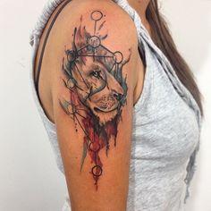 Awesome Lion Geometrical Composition. Tattoos by Analisbet Luna Ana Luna Tattoo