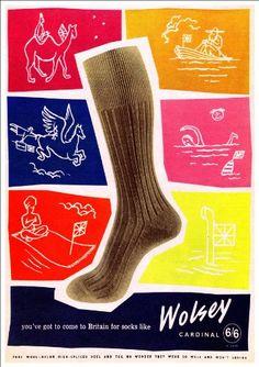 Fantastic A4 Glossy Print - 'Wolsey Socks' (3) - Retro Pr…