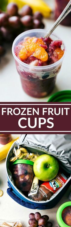 Frozen fruit cups are first off delicious, and second, a great way to get fruit into a lunchbox while also keeping everything cold.