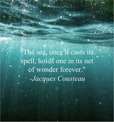 the sea, once it casts its spell... holds one in its net of wonder forever ~ Jacques Cousteau