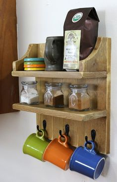 Decor Hacks : build a rustic coffee shelf, painted furniture, shelving ideas -Read More – - Rustic Furniture, Painted Furniture, Diy Furniture, Rustic Kitchen, Kitchen Decor, Kitchen Storage, Rustic Cafe, Rustic Logo, Rustic Restaurant