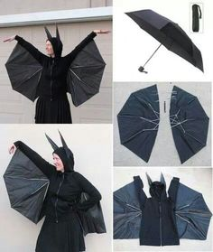 Here are instructions from Evil Mad Scientist about how to transform a basic black commuter umbrella and a hoodie into a cute DIY bat costume. The only materials that you will need are an umbrella and a hooded zippered sweatshirt, and you will also need some tools and supplies: needle and thread, pins, pliers, scissors,