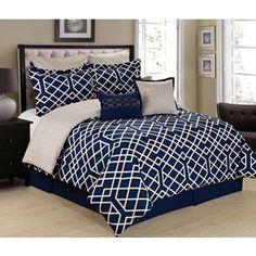 Demetri Navy Blue and White 8-Piece Trellis Comforter Set - Free Shipping Today - Overstock.com - 19162778