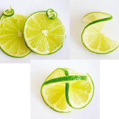 レモン、ライム、オレンジ等柑橘類の飾り切り