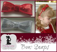 Dainty Lions Interchangeable Bow Snaps  www.facebook.com/DaintyLions11  www.daintylions.com    #bows #hair #accessories #tweens #interchangeable #girls