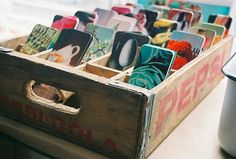 A great idea for organizing tags, paper scraps and craft supplies.