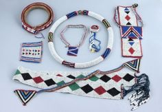 A Group of Eight Zulu beaded jewellery, - African & Oceanic - May 2011 - Auction Atrium African Beads, African Jewelry, Tribal Jewelry, African Art, Beaded Jewellery, Ancient Egyptian Jewelry, Letter Beads, Beading Projects, Zulu