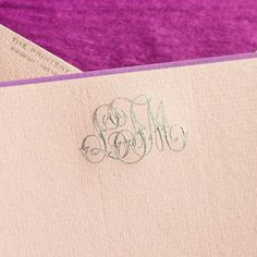 Mallow Pink Empire Card with Iris Border and Monogram in Silver, Envelopes lined with Plum Tissue. Monogram Stationary, Monogrammed Stationery, Stationery Paper, Wedding Stationery, Wedding Invitations, Oyster Bay New York, Hand Engraving, Paper Goods, Letterpress