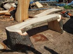 Chainsaw Carved Benches | made a few with lags like this cut from forks in the same tree as seat ...