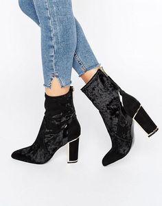 647c83e4687 River Island Studio Velvet Block Heeled Ankle Boot