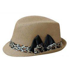 Plain Khaki Panama hat with leopard bow womens straw sun hat
