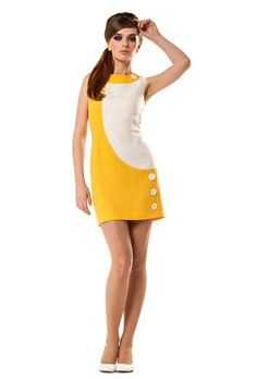 MARMALADE 60s Mod Linen Fitted Mini Dress (W/Y) | atomretro.com