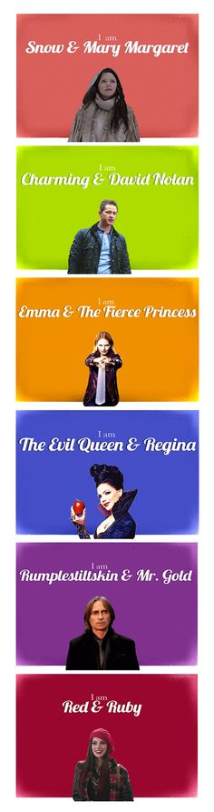 We Are Both - My series on the two identities of the Once Upon A Time characters | Animated Gifs on ouaterbox.tumblr.com | Snow White, Prince Charming, Emma Swan, Regina, Rumplestiltskin, Red