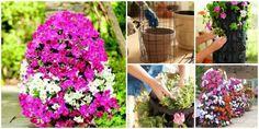 DIY Easter Egg Flower Tower | www.FabArtDIY.com. # gardening, #diy, #flowerpot