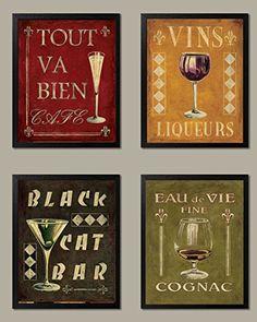 Classic French Cognac, Black Cat Bar, Tout Va Bien, Vins Antique Set, Four Black Red/Black/Green/Gold Gango -Four 8x10in Poster Prints $9.99 USE BLACK FRAMES,