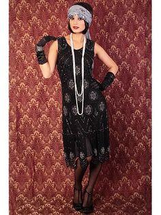 "Roaring Twenties Style Dresses | Roaring 20s Reproduction Beaded Black ""Sheba"" Flapper Dress"