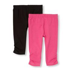 Toddler Girls Solid Ruched Leg Leggings 2-Pack