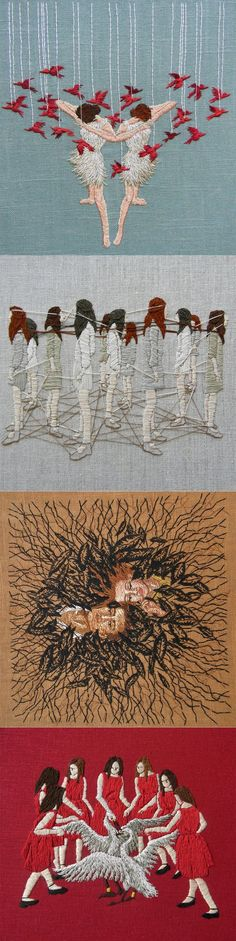 Embroidered Psychological Landscapes by Michelle Kingdom
