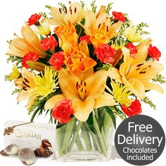 Flowers by Season Autumn Flowers - Finesse & FREE Chocolates Autumn Flowers, Fresh Flowers, Beautiful Flowers, Gifts Delivered, Flowers Delivered, Flower Fashion, Chocolates, Bouquet, Shades