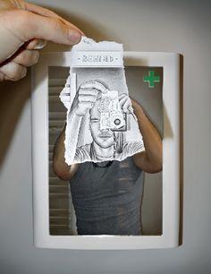 Selfies in Pencil - #selfie #art #drawing  Artist: Ben Heine  www.selfiesnation.com
