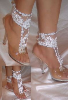 White Flower Barefoot Sandal Ankle Glams Wedding by DesignsByLoure, $30.00