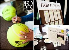 Tried to find a tribute to tennis - guest book is those giant balls players sign at the majors. Lol!