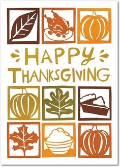 Autumn Cutouts - Happy Thanksgiving Greeting Cards from Treat.com