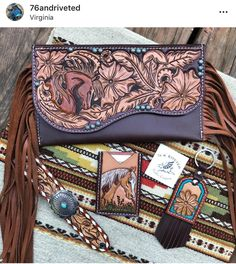 76 and Riveted Leather Art, Leather Design, Leather Tooling, Leather Jewelry, Leather Purses, Leather Handbags, Leather Wallet, Cowgirl Hats, Cowgirl Outfits