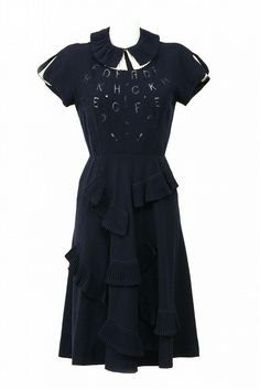 The Nina Ricci Dress Shop alphabet wool crepe pleated blue circa 1940