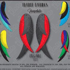 Silhouette Projects, Silhouette Design, Colorful Feathers, Diy Earrings, Leather Craft, Cricut Design, Pattern Design, Templates, Pdf