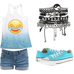 Laughing Face Emoji by daringdetective on Polyvore featuring Pieces, Converse and ASOS