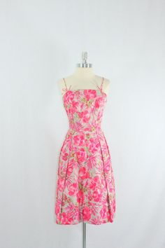 Spring Dress  1950's Designer Vintage PINK by VintageFrocksOfFancy, $190.00