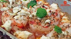 greek shrimp with tomatoes and feta cheese featuring Argentine red shrimp