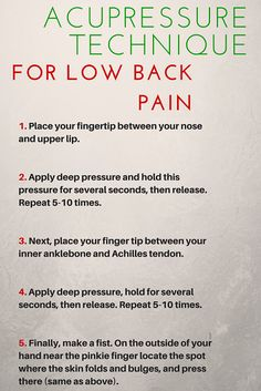 Acupressure points for fast low back pain inflammation relief #BackPain