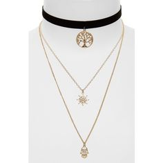 Women's Topshop Tree Of Life Layer Necklace ($22) ❤ liked on Polyvore featuring jewelry, necklaces, gold multi, bohemian jewelry, chains jewelry, charm necklaces, triple necklace and bohemian style jewelry