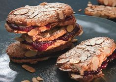 Who says a sandwich has to be savoury? Chewy almond raspberry cookies. Sweet.